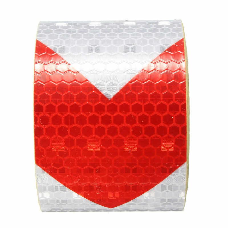 """Wysokiej jakości 2 """"x 10"""" 3 metry czerwone białe strzałki odblaskowa taśma ostrzegawcza ostrzegawcza naklejka foliowa New Arrival"""