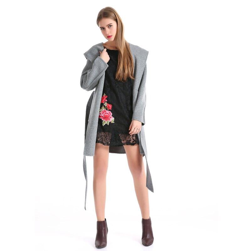 LERFEY Svart kjole Kvinner Vår Elegant Broderi Blomster Blonder - Kvinneklær - Bilde 2