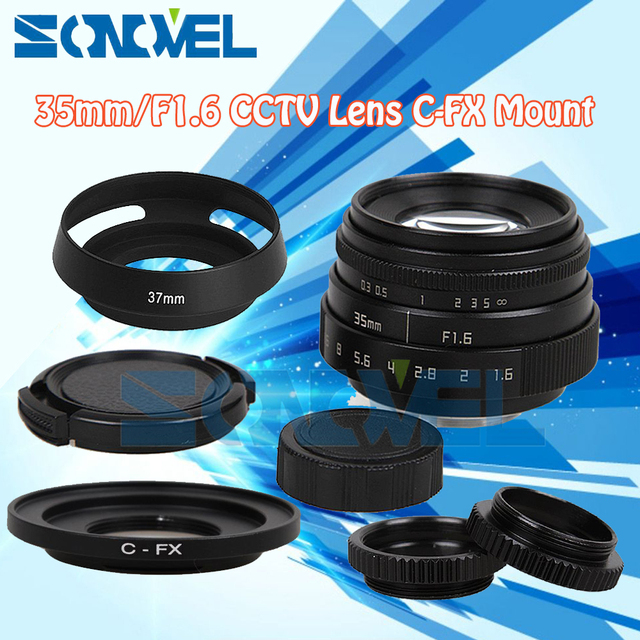 Fujian 35mm F1.6 CCTV Lens C Mount+Lens Hood+Macro ring For Fuji Fujifilm X-E2 X-E1 X-Pro1 X-M1 X-A2 X-A1 X-T1 X100T X-T10