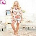 New White Robes De Seda Para Damas de Honra Do Casamento De Seda Robes Roupão Rosa Perfeito Presente Damas de honra Curto Robe Roupão