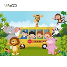 Laeacco Jungle Safari Birthday Themed Decor School Bus Poster Photo Backgrounds Photocall Photography Backdrops For Studio