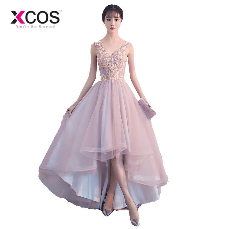 XCOS Pink High Low   Dress   Colorful Appliques Lace Short Front Long Back   Prom     Dresses   2018 Hot Sale Evening Gowns vestido longo