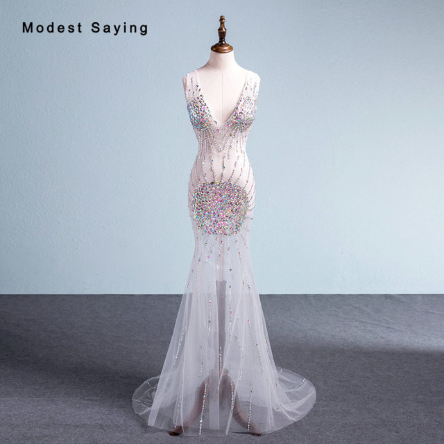 Sexy Transparent Mermaid Evening Dresses 2018 Featuring Plunging Back  Evening Gown V Neck Prom Gown vestido de festa Custom Made 51a6dd7a6536