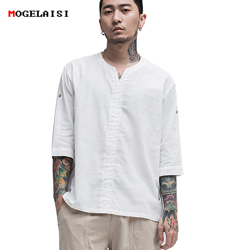 MOGELAISI Linen   t  -  Shirt   men new summer half sleeve white tops&tee cotton linen chinese style Retro tshirt man clothing 1823