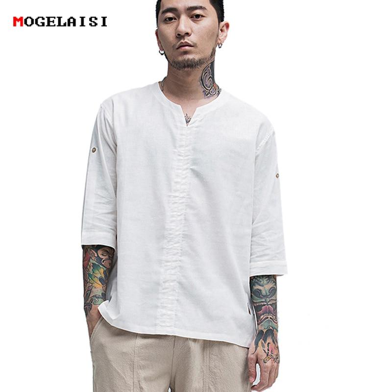 MOGELAISI Linen t-Shirt men new summer half sleeve white tops&tee cotton linen chinese style Retro tshirt man clothing 1823