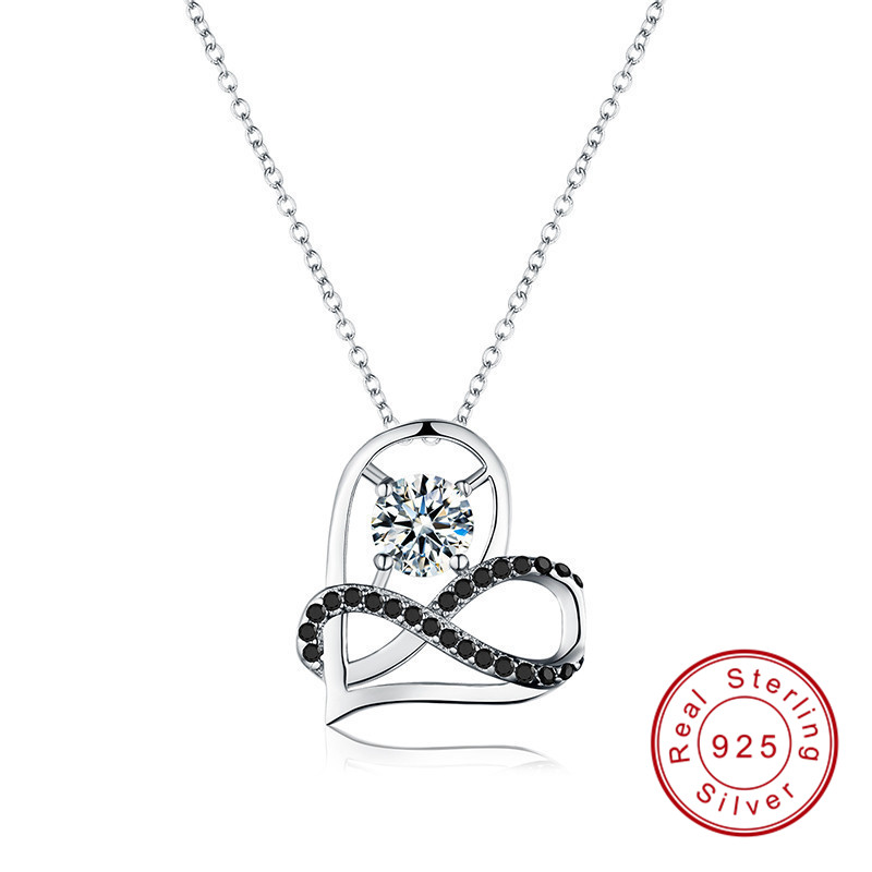 Black Awn Romantic Arrive 925 Sterling Silver Fine Jewelry Trendy Engagement Heart Necklaces & Pendants For Women PP070