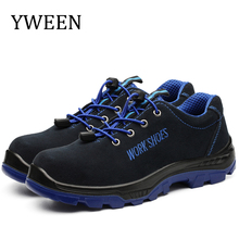 YWEEN Mens Work Safety Shoes Lace Up Steel Toe Cap Military Boots Men Puncture Proof
