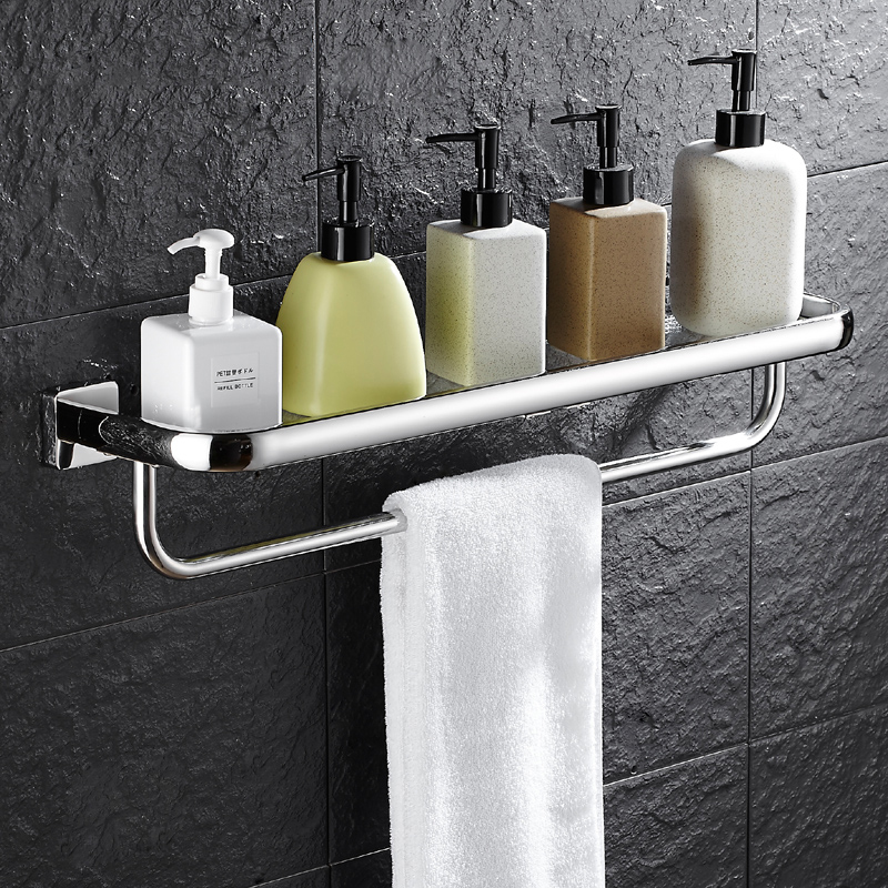 Wall Mounted Bathroom Accessories 30cm Gl Shelf Shelves Single Tier Bath Toilet With Towel Bar In From Home