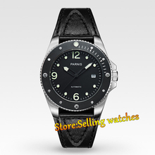 Parnis 43mm Black dial Mechanical Sapphire Miyota Automatic Mens Watch