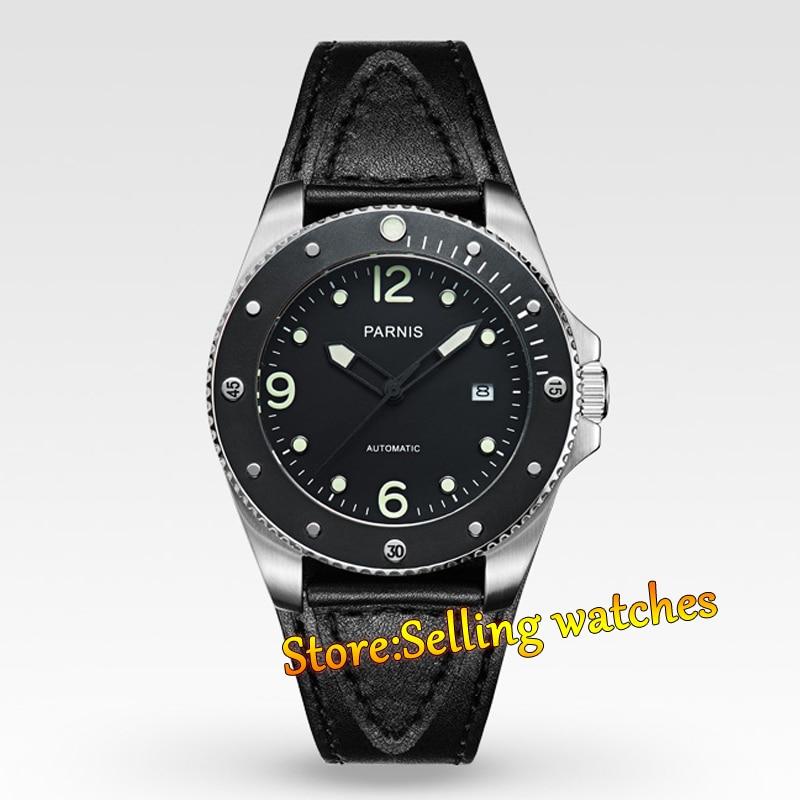 Parnis 43mm Siyah kadran Mekanik Safir Miyota Otomatik Mens WatchParnis 43mm Siyah kadran Mekanik Safir Miyota Otomatik Mens Watch