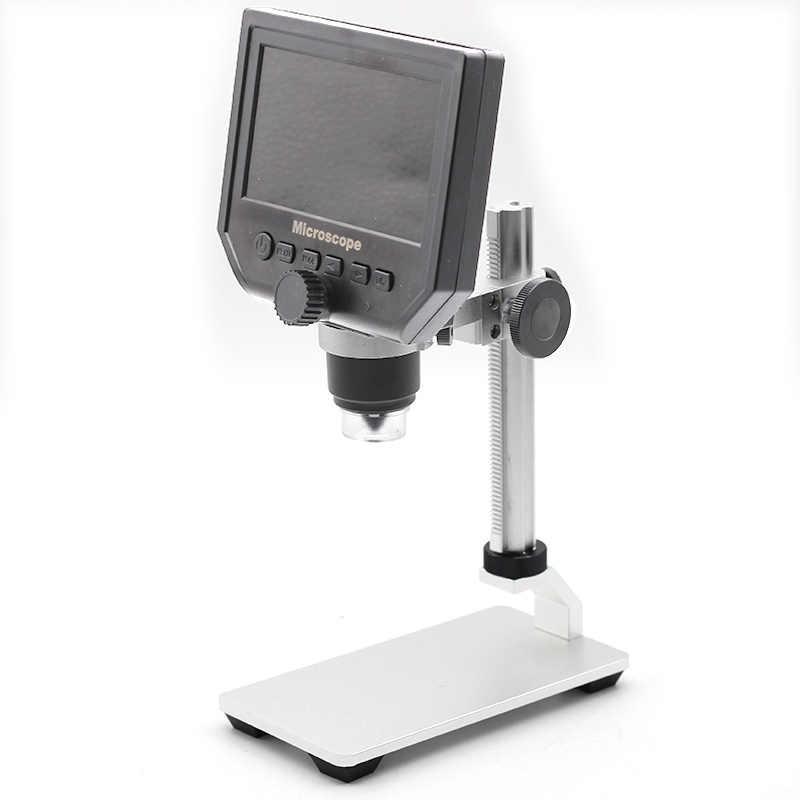 Microscope vidéo électronique 600X Microscope numérique 4.3 pouces HD LCD Microscope à souder loupe de réparation de téléphone + support en métal