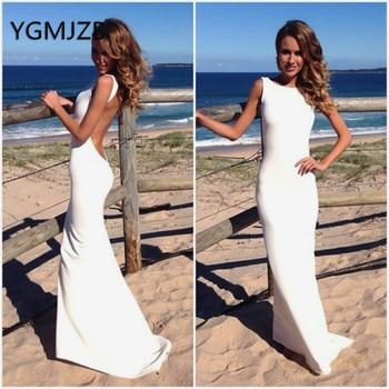 Backless Summer Wedding Dresses 2019 Mermaid Elastic Satin Wedding Party Dress Bridal Gowns Bride Dress Robe De Marriage