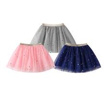 Модная детская юбка для маленьких девочек; юбка-пачка принцессы со звездами и блестками для танцев; вечерние балетные юбки пачки для детей из шифона