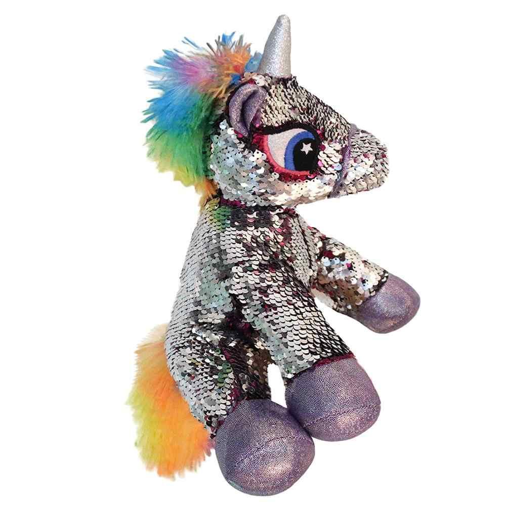 Dropshipping 1 stücke Flip Pailletten Gefüllte Einhorn Plüsch Spielzeug mit Reversible Glitter Zwei-Seiten Pailletten Nizza Geschenke für Kinder freunde