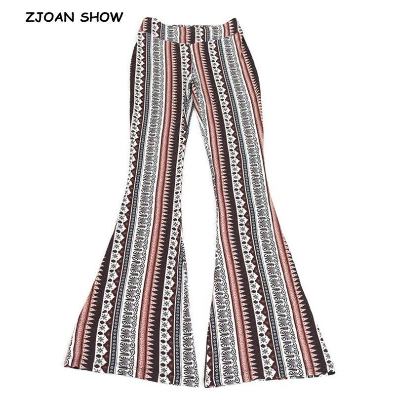 2019 Ethnic Geometric Print Flare Pants Women Bohemian Tribal African Print Long Trousers Bell Bottom Leggings Hippie Pants