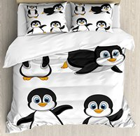 Duvet Cover Set , Cute Penguin Cartoon Waving Standing Sliding Smiling Animal Humor Antarctica, 4 Piece Bedding Set