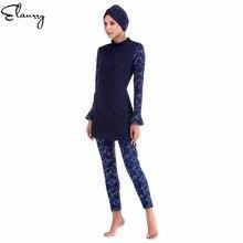 e8a2c26484 2018 Muslim Swimwear Women Modest Floral Print Full Cover Long Sleeve Swimsuit  Islamic Hijab Islam Burkinis