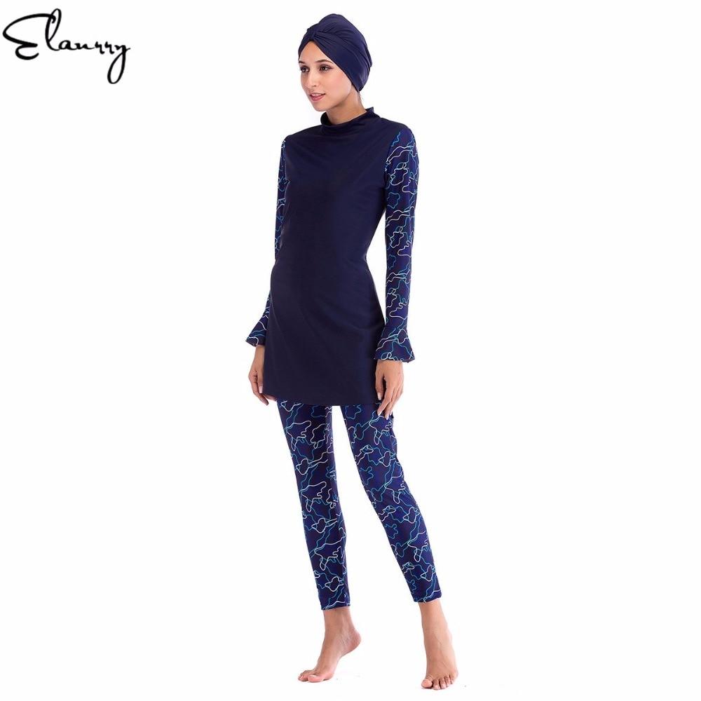 2018 Muslim Swimwear Women Modest Floral Print Full Cover Long Sleeve Swimsuit Islamic Hijab Islam Burkinis Wear Bathing Suit