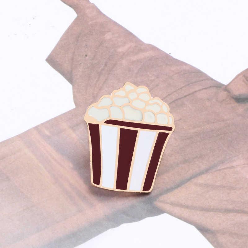 Kartun Makanan Cepat Saji Sundae Ice Cream Enamel Popcorn Hamburger Bahasa Perancis Goreng Wanita Lapel Bros Lucu Fashion Perhiasan Lencana Hadiah