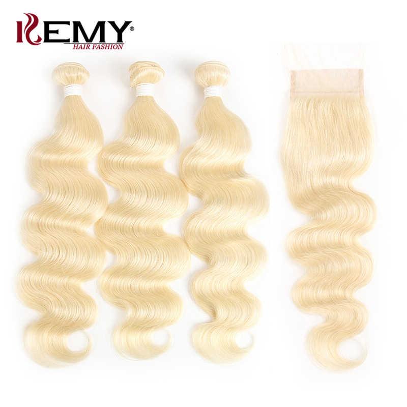 613 блонд человеческие волосы пучок s с закрытием бразильские волнистые волосы для наращивания 4*4 Кружева Закрытие с пучком kemy Hair