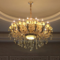 Hotel Led Fixture Lighting Chandeliers for Church hall duplex building crystal large jade Candelabro zinc alloy Led sconce Luz
