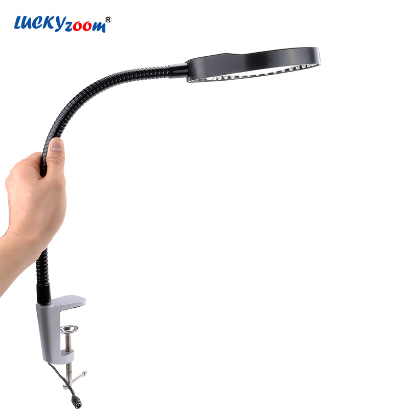Welding Clip-on Desktop Magnifying Glass 8X Plug-in Adjustable LED Illuminated Lamp Jewelry Magnifier Loupe Reading Repair LupaWelding Clip-on Desktop Magnifying Glass 8X Plug-in Adjustable LED Illuminated Lamp Jewelry Magnifier Loupe Reading Repair Lupa