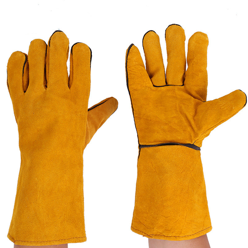 1 Pair Welding Gloves Cowhide Leather Electric Welder's Protective Gloves Fire High Temperature Protection Workplace Safety safurance anti cuttingextended wearable welding gloves industrial leather protective glove workplace safety fire retardant