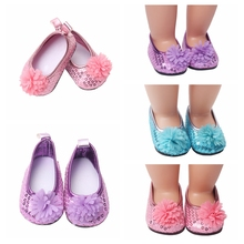 Sequins Flower Pink/Purple/Blue Doll Shoes Girl Gift 18 Inch 45cm girl doll 7cm Doll Shoes Mini  Shoes For 43cm Doll цены