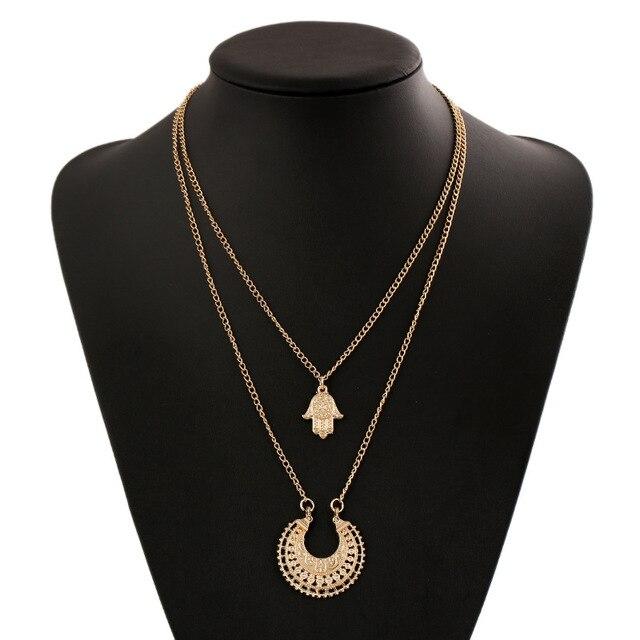 3d129ad33d78 Mano de Hamsa y la media luna collar de múltiples capas dorado