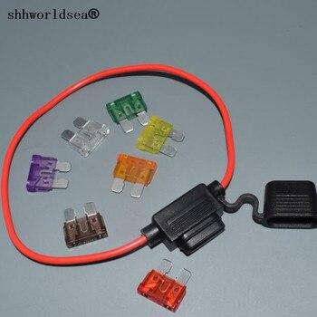 Shhworld 16AGW 30 см Авто встроенный средний в линии держатель предохранителя + 1 шт. плавкие вставки 1A 2A 3A 40A 5A 7.5A 10A 15A 20A 25A 30A 35A 40A
