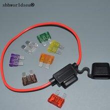 Shhworld suporte de fusível 16agw 30cm, auto inline médio em linha + 1 peça, fusível inserções 1a 2a 3a 40a 5a 7.5a 10a 15a 20a 25a 30a 35a 40a