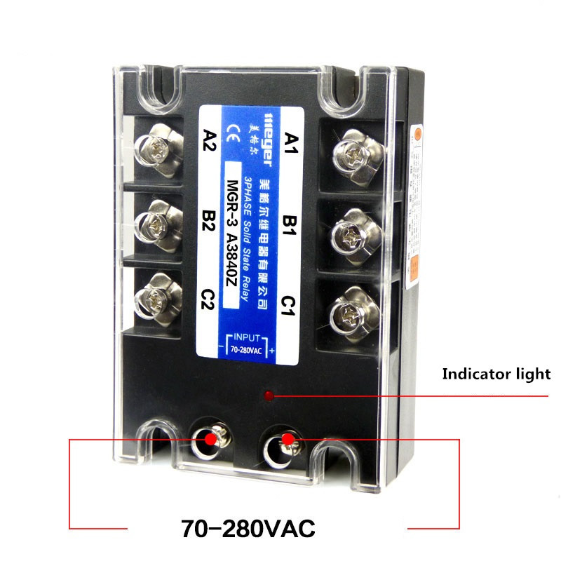 Three-phase solid state relay 380V 40A MGR-3 A3840Z AC-AC normally open single phase solid state relay ssr mgr 1 d48120 120a control dc ac 24 480v
