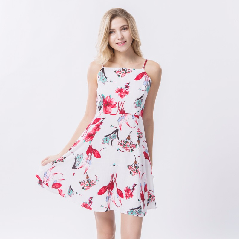 2017 Spring Vintage Floral Dress Women Casual Spaghetti Strap Dresses Female Beach Mini Dress For Women Large Size Sexy Vestidos 12