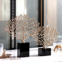 Luxurious Golden Metal Coral Statues Sculptures Black Crystal Decor Crafts Gifts Figurines Desktop Home Decoration Accessories