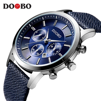 DOOBO Mens Watches Brand Luxury Casual Military Quartz Sports Wristwatch Leather Strap Male Clock Watch Relogio