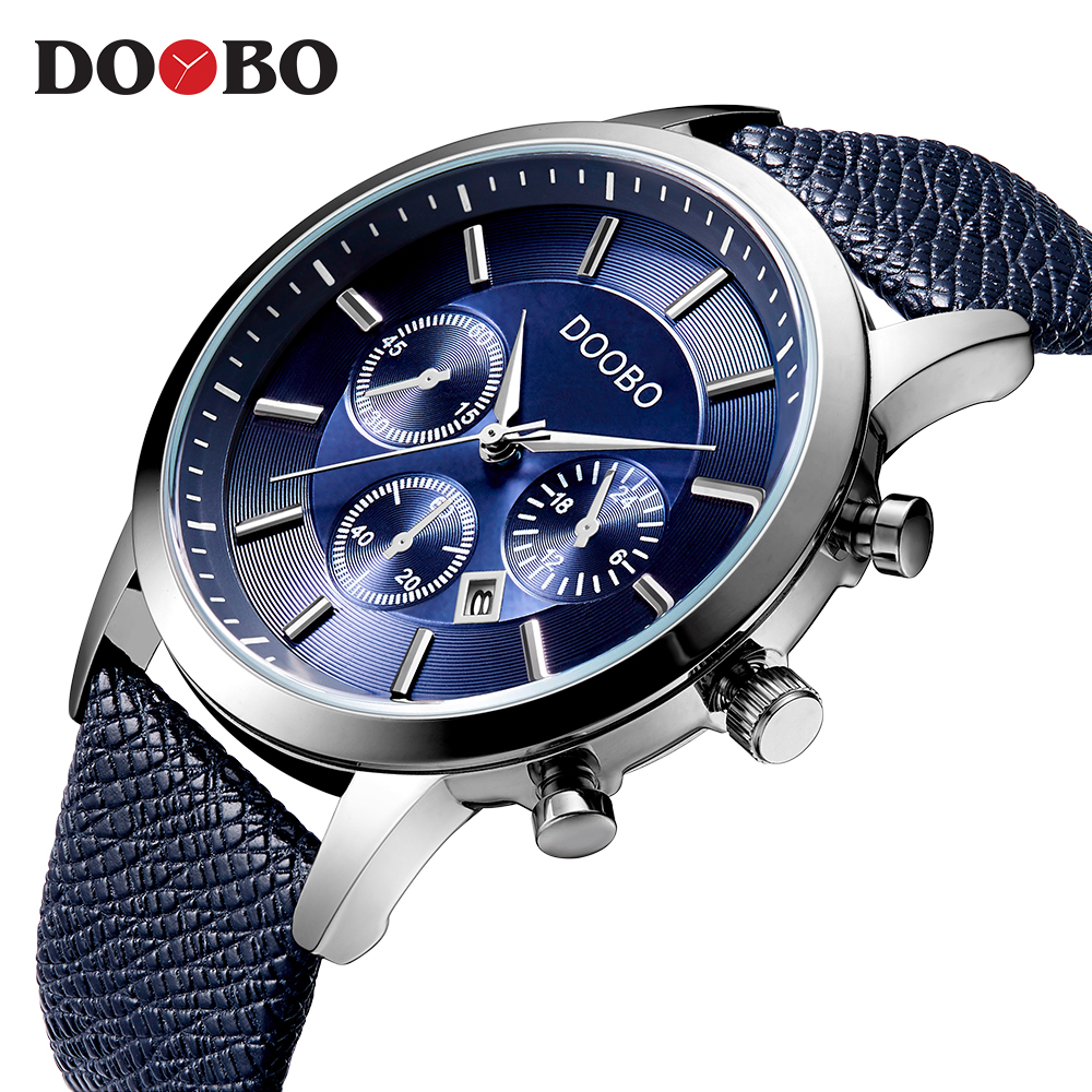 DOOBO Mens Watches Brand Luxury Casual Military Quartz Sports Wristwatch Leather Strap Male Clock watch relogio masculino D034