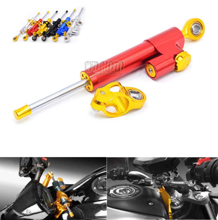 ФОТО MTSD-001-RD Red & Gold Universal High Quality CNC Alloy motorcycle Adjustable Steering Damper For Kawasaki f6