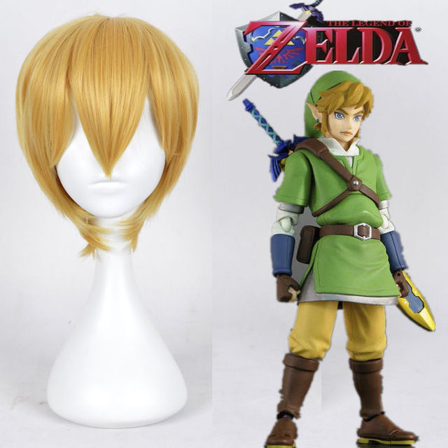 FREE SHIPThe Legend Of Zelda Link Wig Straight Short Blonde Yellow Classic Synthetic Wigs