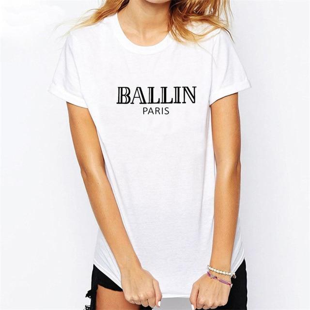 T-shirt Vrouwen 2017 Korte Mouw Wit Katoenen T-Shirt Top Gedrukt Zomer Brief Ballin Parijs Tee Shirt T-shirt Mannelijke T-F10990