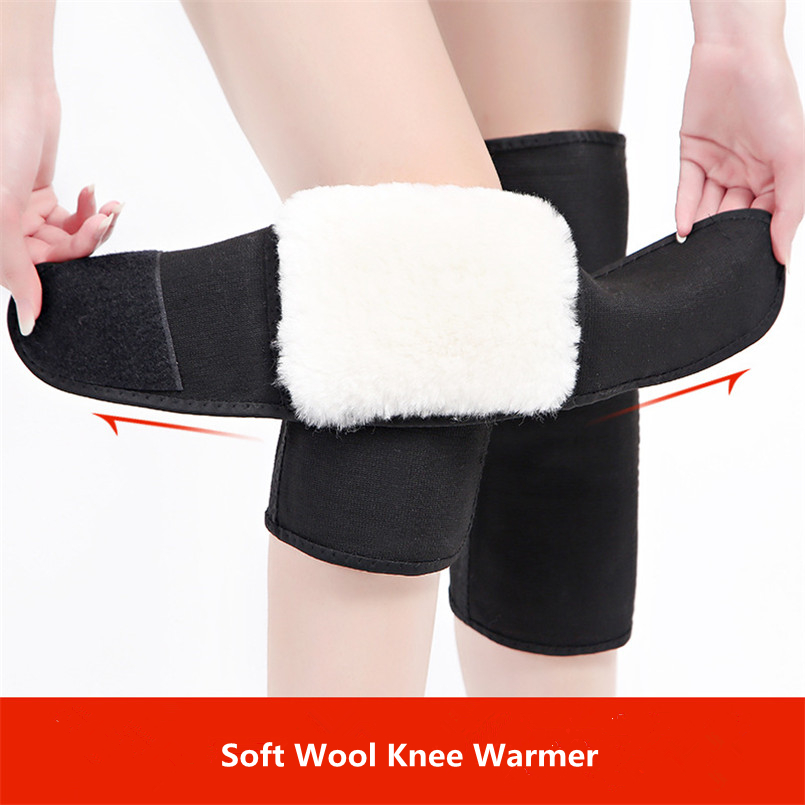 100% Pure Wool Sheepskin Knee Protector Sleeves Thickened Warm Knee Warmer Winter Outdoor Joint Cushion Knee Pad With Sticker