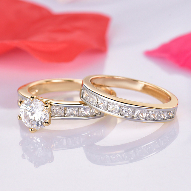 GULICX Classic Ring sets Gold-Color Wedding Bands Rings For Women High Quality R