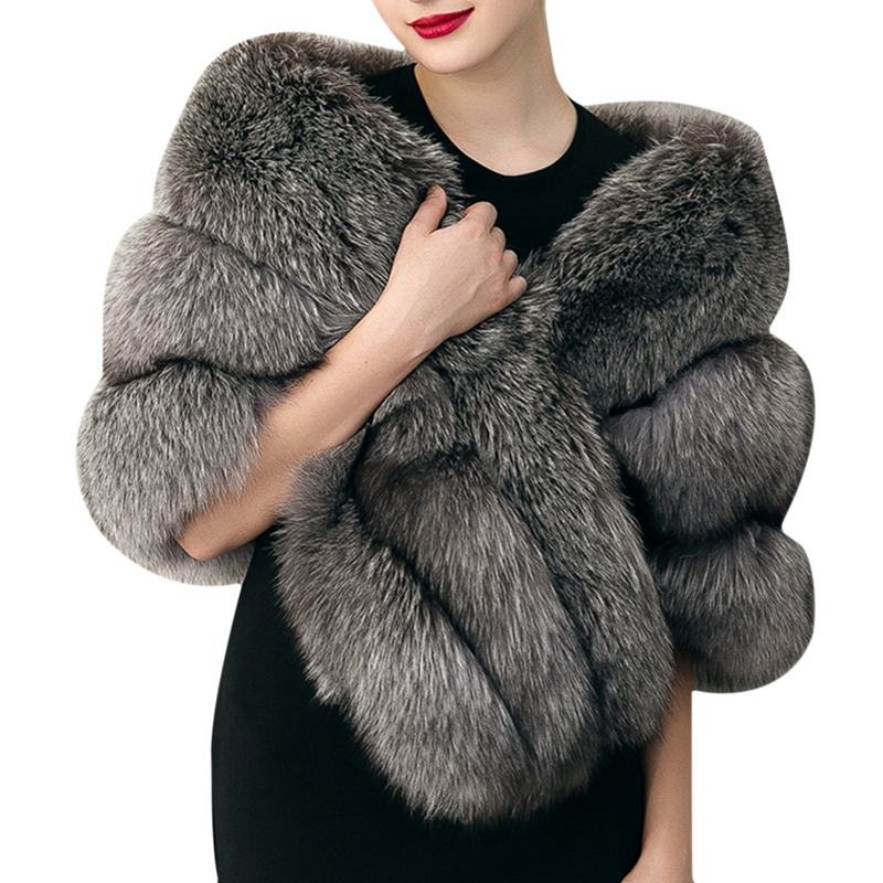 Soft Winter Women's Faux Fur Collar Shawl Luxury Imitated Fox Fur Stole Wrap Shrug Scarf Lady's Winter Large Pashimina