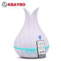 KBAYBO 400ml air humidifier with remote control white wood grain aroma oil diffuser air purifier 7 colors options lamp for home