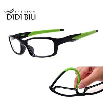 ディディ TR90 チタン眼鏡アンチ爆発カジュアルメガネ長方形シリコーン明確なメガネ近視光眼鏡フレーム U528