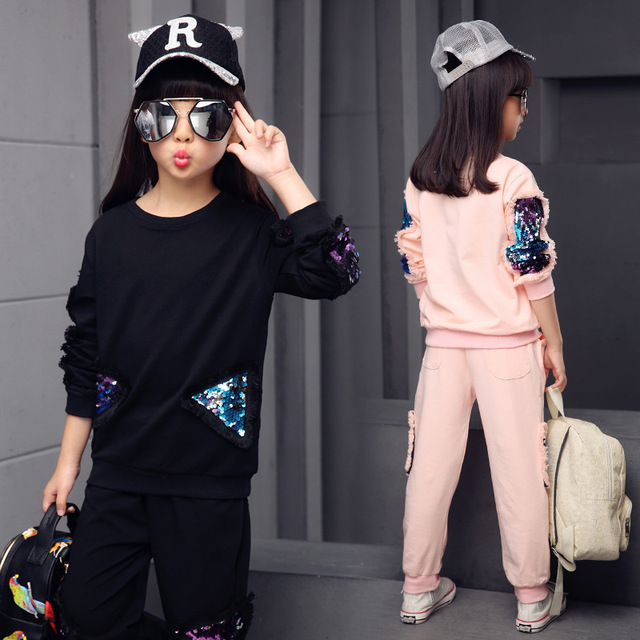 Children Girls clothing set 2017 spring teenage girls sport suit print school kids clothes tracksuit 2pcs 4~13 T girls clothes