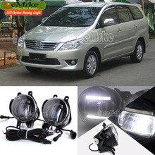 eeMrke For Toyota Innova 2012 + 2 in 1 Double Led Guiding DRL Fog Lights Lamp With Q5 Lens Daytime Running Lights