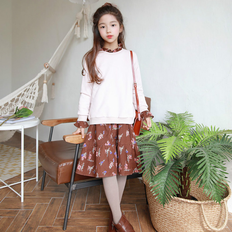2018 New Girls Two-piece Suit Long-sleeved Top Baby Princess Dress Kids Autumn Dress Floral Children Sweatshirt and Dress,#32702018 New Girls Two-piece Suit Long-sleeved Top Baby Princess Dress Kids Autumn Dress Floral Children Sweatshirt and Dress,#3270