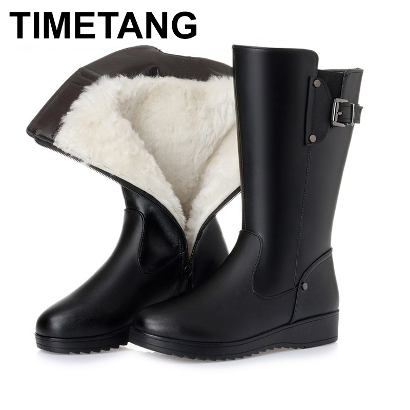 TIMETANG Female winter boots 2018 new genuine leather female motorcycle boots, big size 41 42 43 wool boots, high heel booties