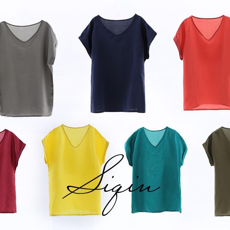 Шелк Жан простой, легкий, роскошный, элегантный, разноцветные шелк тутового пальто, круглый вырез, тонкий 19 мм, шелк футболка, женщина 20