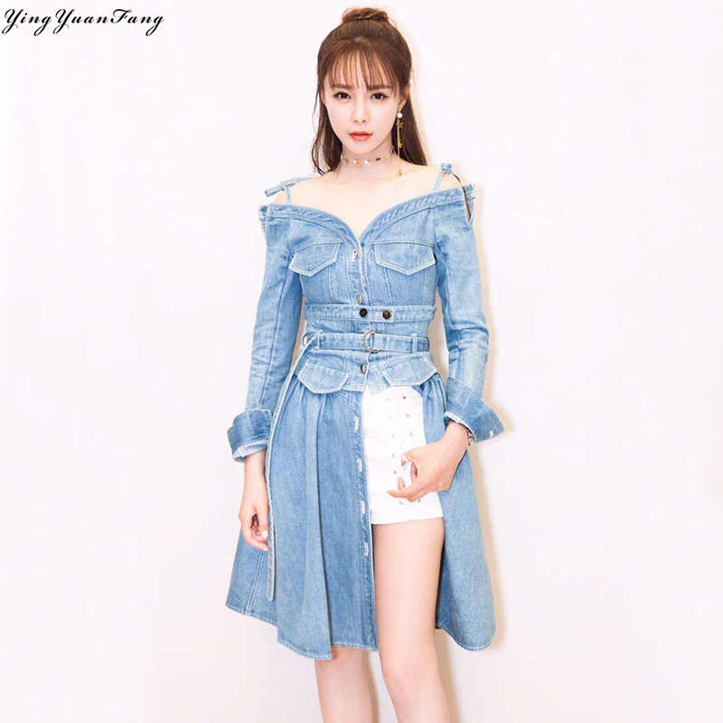 YingYuanFang New Cowboy Sling Neck Long Sleeve Dress, Real picture high quality